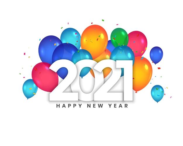 Cartão de feliz ano novo de 2021 com celebração de balões