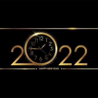 Cartão de feliz ano novo de 2022 com relógio dourado sobre fundo preto. vetor.