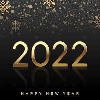Cartão de feliz ano novo de 2022 com texto dourado de luxo e flocos de neve caindo. vetor.