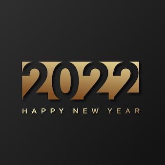 Cartão de feliz ano novo de 2022 com texto dourado de luxo sobre fundo preto. vetor