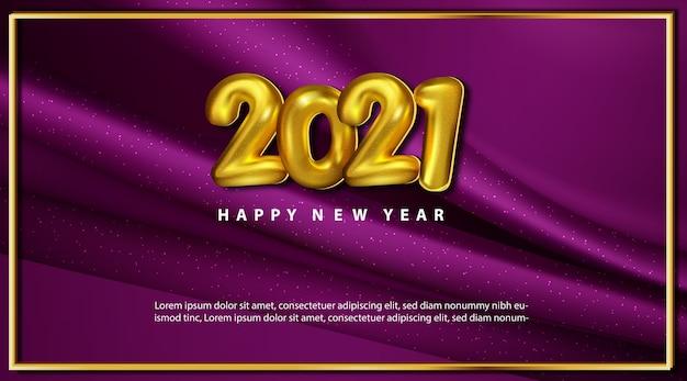 Cartão de feliz ano novo de luxo 2021