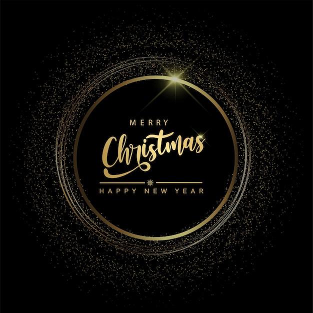 Cartão de feliz ano novo e cartão de feliz natal com círculo de brilhos em fundo preto. vetor