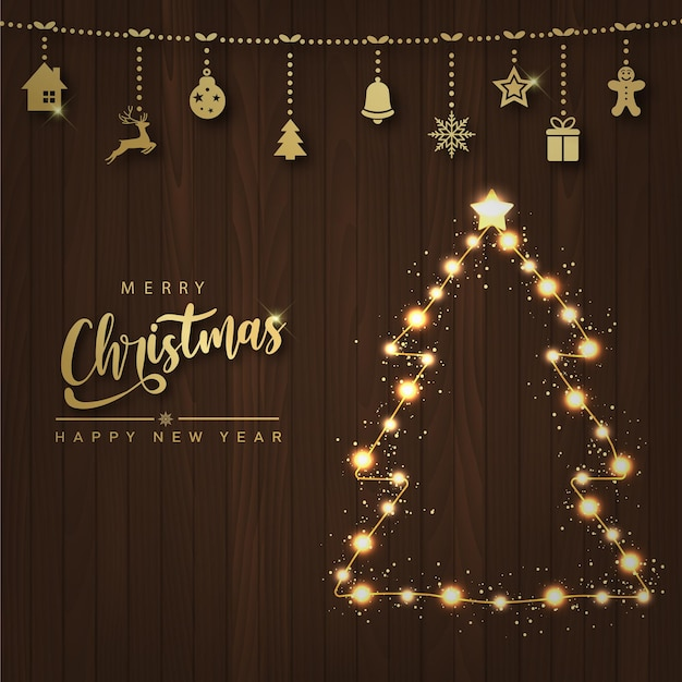 Cartão de feliz ano novo e feliz natal com iluminação, árvore de natal e enfeites em fundo de madeira. vetor