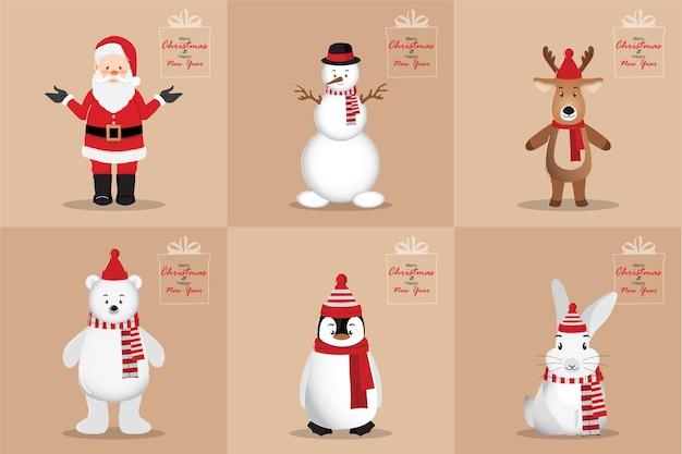 Cartão de feliz ano novo e feliz natal com o personagem de desenho animado papai noel, boneco de neve, pinguim, urso branco, coelho e veado