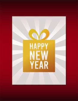 Cartão de feliz ano novo letras com presente dourado em ilustração de fundo vermelho
