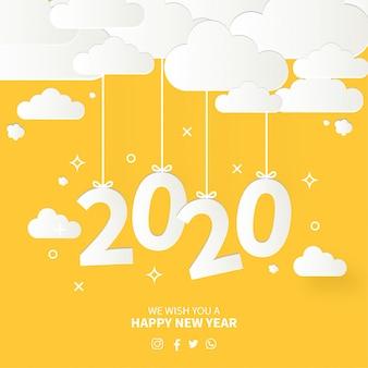Cartão de feliz ano novo moderno com design plano