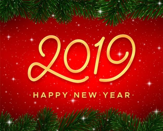 Cartão de feliz ano novo. número de caligrafia de ouro 2019