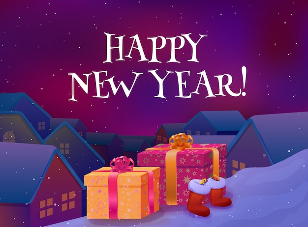 Cartão de feliz ano novo. presentes de natal no telhado