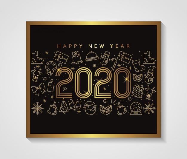Cartão de feliz ano novo vetor de ouro