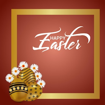 Cartão de feliz celebração da páscoa com o coelhinho da páscoa e o ovo da páscoa
