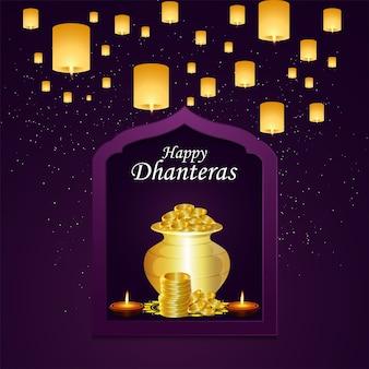Cartão de feliz celebração de dhanteras em fundo roxo