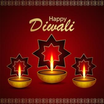 Cartão de feliz celebração de diwali com diwali diya