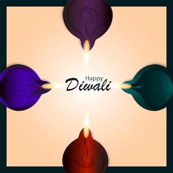 Cartão de feliz celebração de diwali com ilustração vetorial