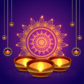 Cartão de feliz celebração de diwali com lâmpada de óleo de diwali