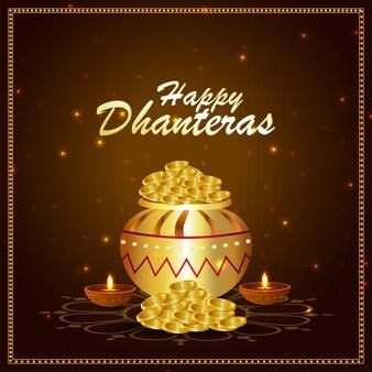 Cartão de feliz celebração dhanteras com kalash de moeda de ouro