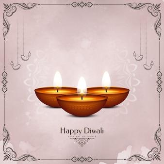 Cartão de feliz celebração do festival de diwali com moldura e velas