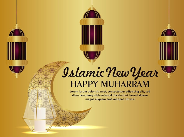 Cartão de feliz celebração muharram com lanterna islâmica em plano de fundo padrão