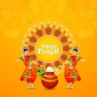 Cartão de feliz celebração pongal com fundo criativo