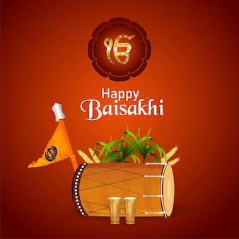Cartão de feliz celebração vaisakhi com ilustração