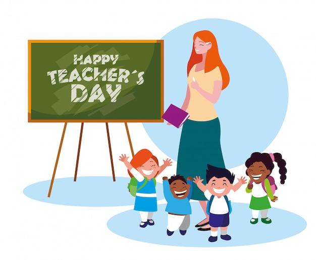 Cartão de feliz dia com professor feminino e alunos