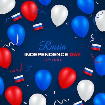 Cartão de feliz dia da independência da rússia com bandeira branca e azul vermelha e balões
