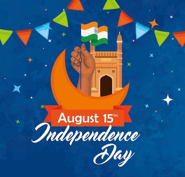 Cartão de feliz dia da independência indiana, celebração 15 de agosto