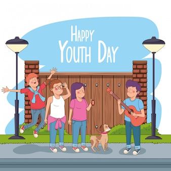 Cartão de feliz dia da juventude com desenhos de adolescentes