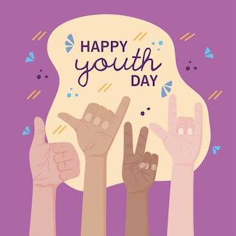 Cartão de feliz dia da juventude com mãos fazendo sinais