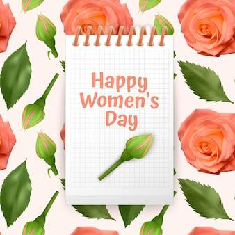 Cartão de feliz dia da mulher, cartão com fundo sem costura e infinito com rosas laranja brilhantes e folhas verdes.