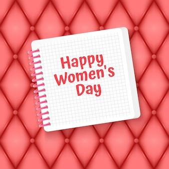 Cartão de feliz dia da mulher com corte de papel e lugar para texto