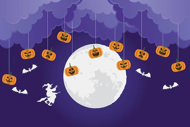 Cartão de feliz dia das bruxas com abóboras e bruxa voando desenho de ilustração vetorial de cena