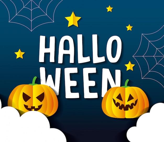Cartão de feliz dia das bruxas, com abóboras, estrelas, teias de aranha e nuvens no estilo corte de papel