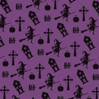 Cartão de feliz dia das bruxas com bruxas voando e padrão de castelos assombrados.
