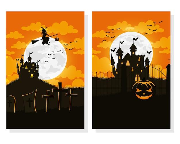 Cartão de feliz dia das bruxas com casas assombradas e ilustração vetorial de cenas de bruxa voando