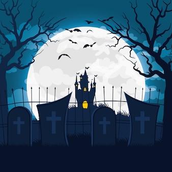 Cartão de feliz dia das bruxas com castelo assombrado em desenho de ilustração vetorial de cena de cemitério