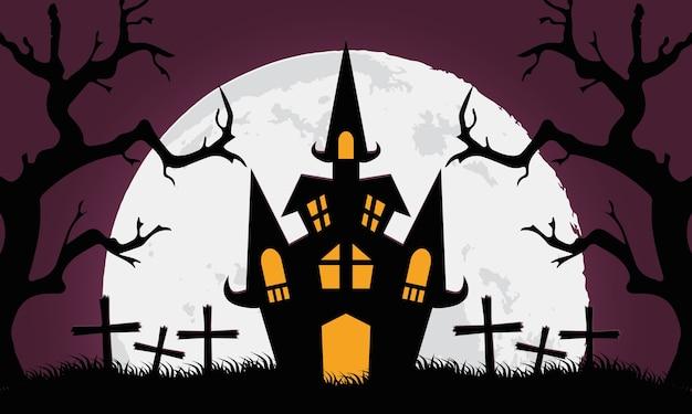Cartão de feliz dia das bruxas com castelo em design de ilustração vetorial de cemitério