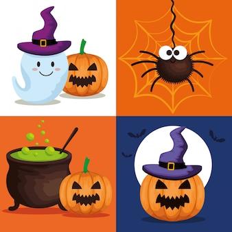 Cartão de feliz dia das bruxas com conjunto de ícones