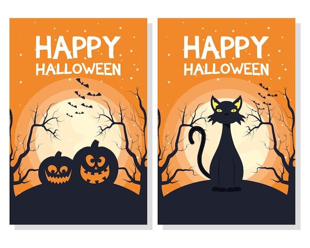 Cartão de feliz dia das bruxas com desenho de ilustração vetorial de abóboras e cenas de gato
