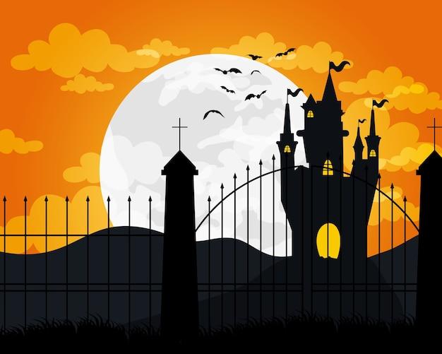 Cartão de feliz dia das bruxas com desenho de ilustração vetorial de cena assombrada de castelo