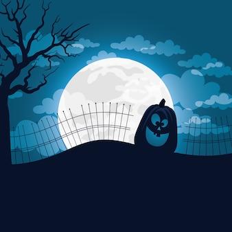 Cartão de feliz dia das bruxas com desenho de ilustração vetorial de cena de lua e abóbora