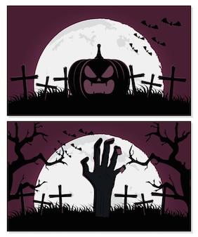Cartão de feliz dia das bruxas com desenho de ilustração vetorial de cenas de abóbora e mão da morte