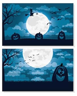 Cartão de feliz dia das bruxas com desenho de ilustração vetorial de cenas de bruxa voando e abóboras