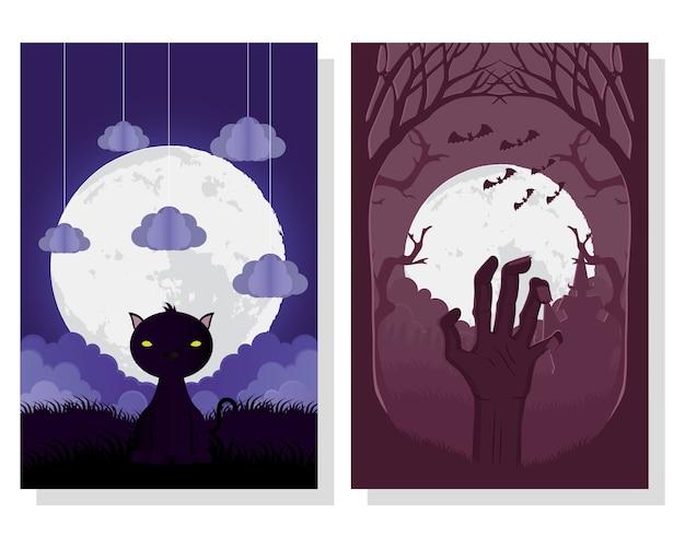 Cartão de feliz dia das bruxas com desenho de ilustração vetorial de cenas de gato e mão da morte