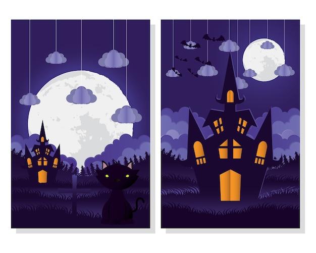 Cartão de feliz dia das bruxas com design de ilustração vetorial de cenas de gato e castelo