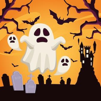 Cartão de feliz dia das bruxas com fantasmas flutuando na cena do cemitério