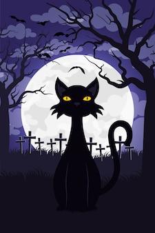 Cartão de feliz dia das bruxas com gato em ilustração vetorial de cena de cemitério