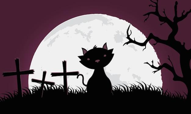 Cartão de feliz dia das bruxas com gato preto em ilustração vetorial de cena de cemitério
