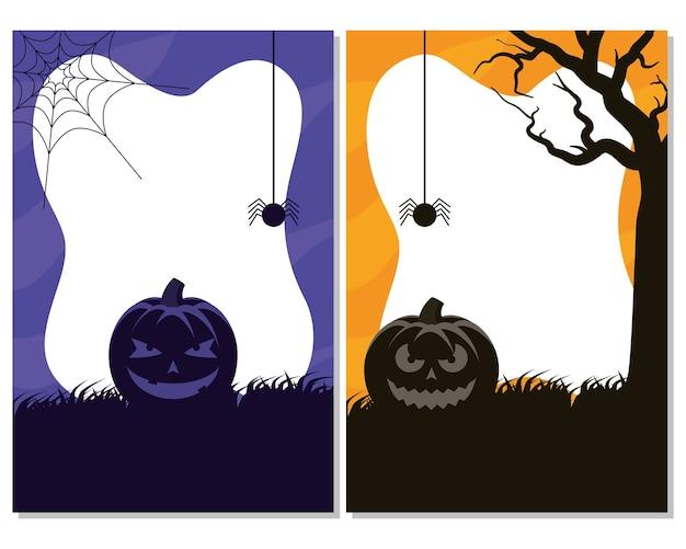 Cartão de feliz dia das bruxas com ilustração vetorial de abóboras e cenas de aranha