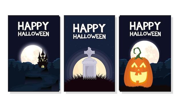 Cartão de feliz dia das bruxas com inscrições e desenho de ilustração vetorial de cenas