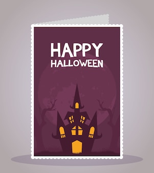 Cartão de feliz dia das bruxas com letras e ilustração em vetor cena de castelo assombrado.